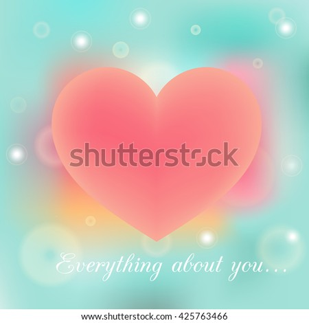 Everything about you vector poster on blue and pink blurred background