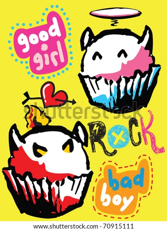 evil and angel cake - stock vector