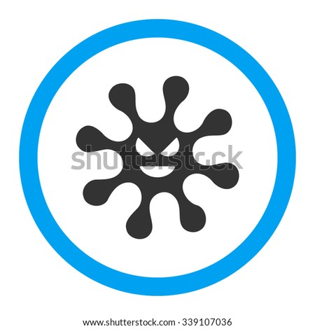 Evil Bacteria vector icon. Style is bicolor flat rounded symbol, blue and gray colors, rounded angles, white background. - stock vector