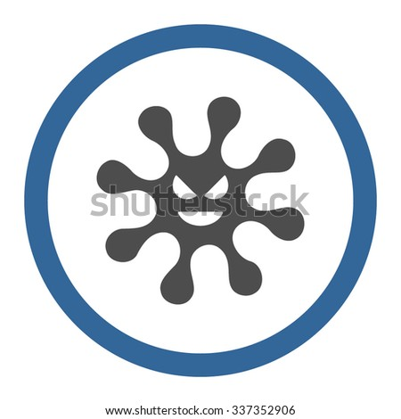 Evil Bacteria vector icon. Style is bicolor flat rounded symbol, cobalt and gray colors, rounded angles, white background. - stock vector
