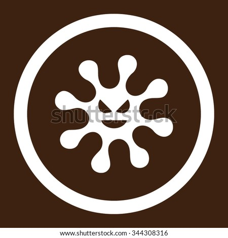 Evil Bacteria vector icon. Style is flat rounded symbol, white color, rounded angles, brown background. - stock vector