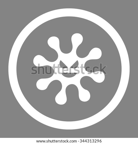 Evil Bacteria vector icon. Style is flat rounded symbol, white color, rounded angles, gray background. - stock vector