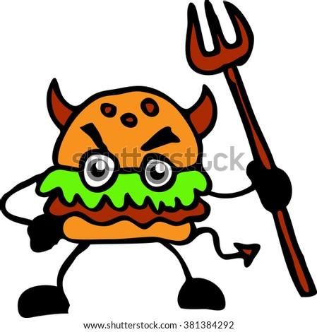 evil burger - stock vector