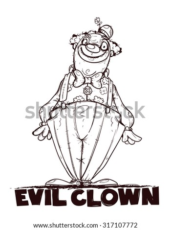 Evil clown. Black and white