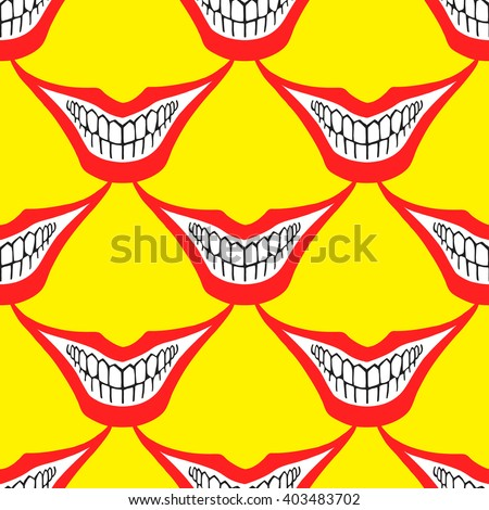 Evil clown or playing card joker smile seamless vector pattern. Creepy, spooky, scary smiles with red painted lips and bared teeth texture. Fool's Day or Halloween funny, irony endless background. - stock vector