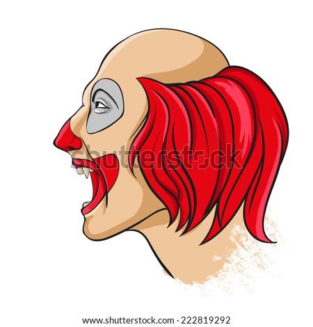 Evil clown portrait - stock vector