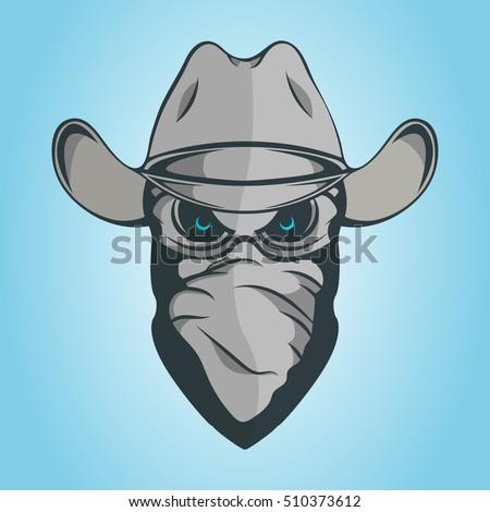 Skull with bandana and hat