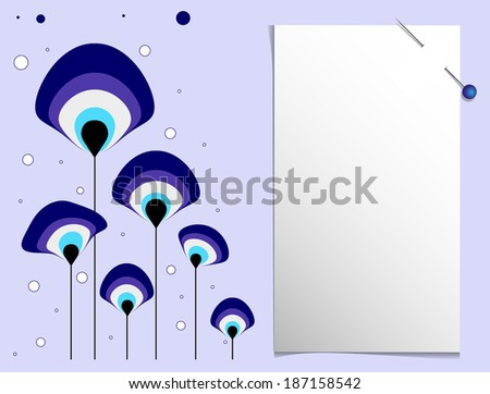 evil eye bead and note paper - stock vector
