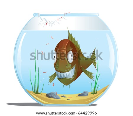 evil fish in the aquarium - stock vector
