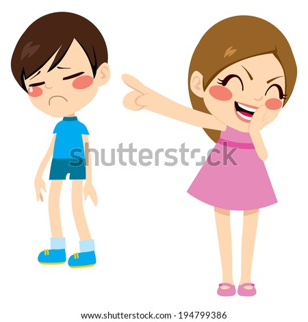 Evil little girl bullying poor sad boy kid pointing finger laughing and mocking - stock vector