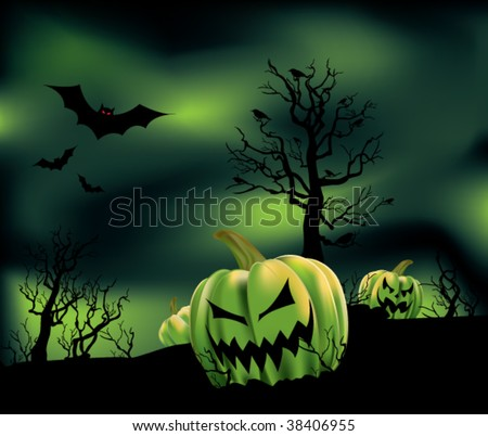 Evil looking pumpkins in a barren field with bats, crows, and hazy green clouds. - stock vector