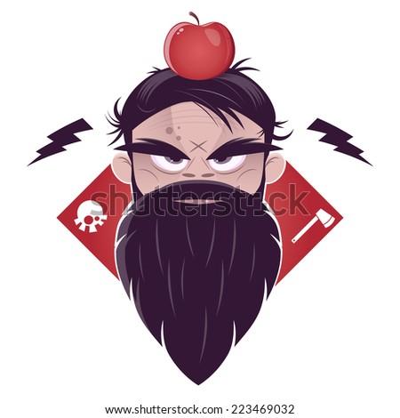 evil man with a long beard and an apple on his head - stock vector