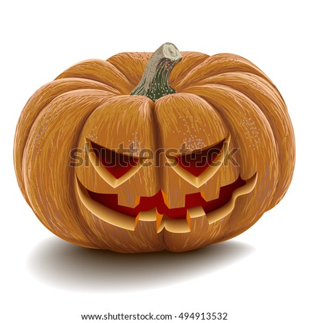 Evil pumpkin for Halloween on a blank background