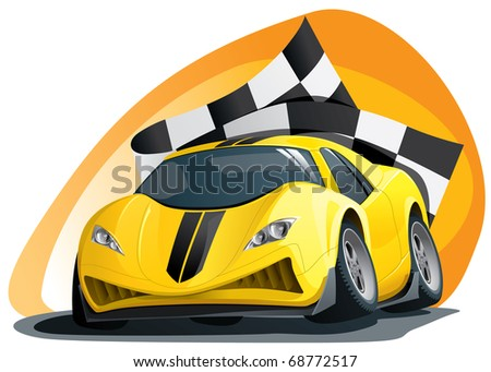 evil racing car on the track - stock vector