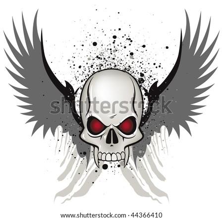 Evil skull emblem on white background - stock vector