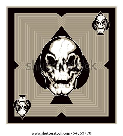 Evil Skull of Spades - stock vector