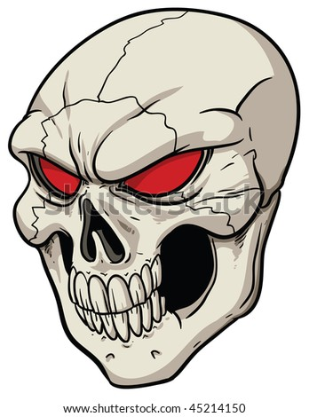 Evil skull with red eyes. - stock vector
