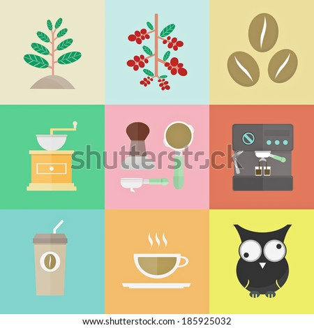 evolution of coffee, sprout to brewed espresso, vector illustration - stock vector