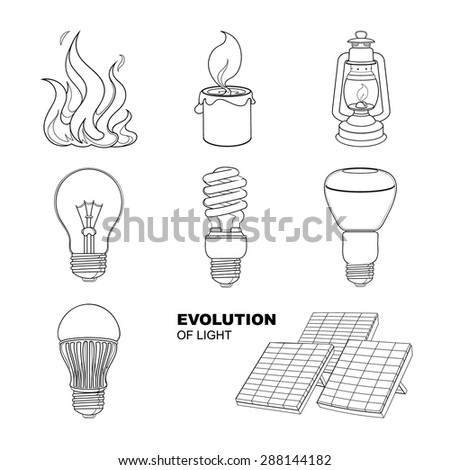Evolution of light. Vector linear drawings set of lighting equipment. - stock vector