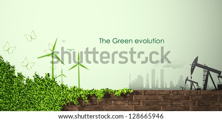 evolution of the concept of greening of the world banners - stock vector