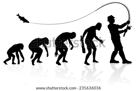 Evolution of the Fisherman. Great illustration of depicting the evolution of a male from ape to man to Fisherman in silhouette.