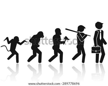 Evolution of the man Stick Figure Pictogram Icon - stock vector