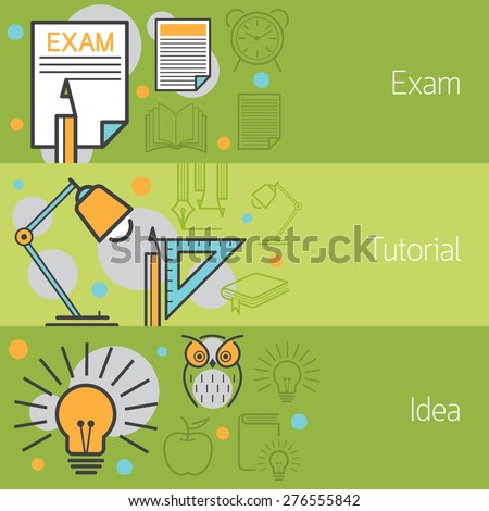 Exam, Tutorial, Idea, Banner, Education, Linear, Line, Icons and Objects Style - stock vector