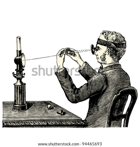 "Examination under the magnifying glass - vintage engraved illustration - ""Manuel des hospitalière et des garde-malaldes""  edited by  Librairie Poussielgue - Paris 1907 - stock vector"