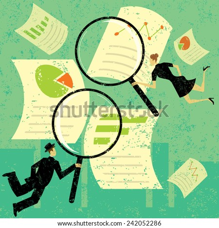 Examining Financial Documents - stock vector