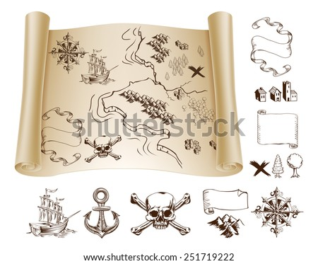 Example map and design elements to make your own fantasy or treasure maps. Includes mountains, buildings, trees, compass, ship skull and crossbones and more. - stock vector