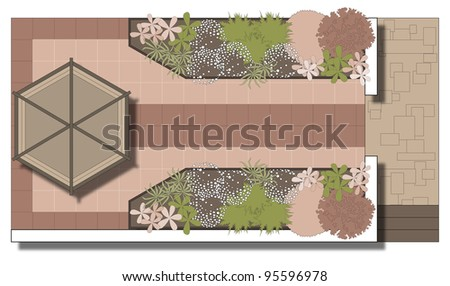 Example of landscaping patio. Area in front of a gazebo. Patio. - stock vector