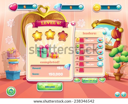 Example of the user interface of a computer game. Window complete a level. - stock vector