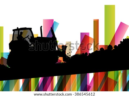 Excavator bulldozer industrial land digging machinery silhouette in abstract construction site business economy background vector concept illustration - stock vector
