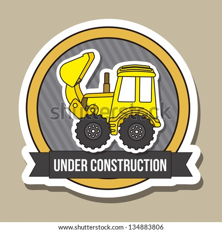 excavator cartoon over brown background. vector illustration - stock vector