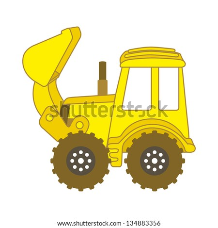 excavator cartoon over white background. vector illustration - stock vector