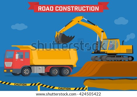 Excavator digging pit in the ground and load truck. Construction machines in the background silhouette of the city. Vector illustration of building machinery. - stock vector