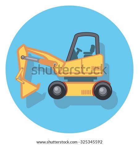 excavator flat icon in circle - stock vector