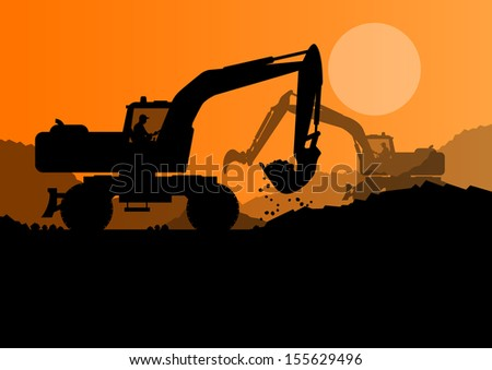 Excavator loader at construction site with raised bucket vector background