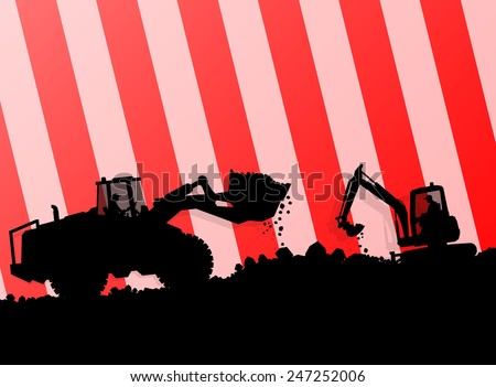 Excavator loader hydraulic machine tractor and worker digging at industrial construction site vector abstract background - stock vector