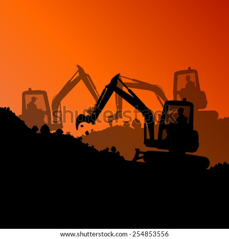 Excavator loader hydraulic machine tractors and workers digging at industrial construction site vector abstract background - stock vector