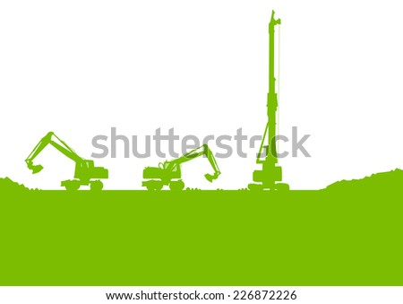 Excavator loader tractor digging at industrial construction site vector background illustration - stock vector