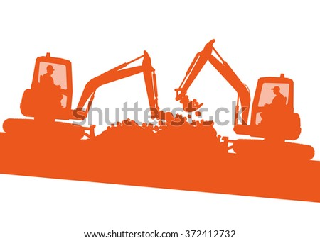 Excavator machine ground work vehicle construction site abstract vector background