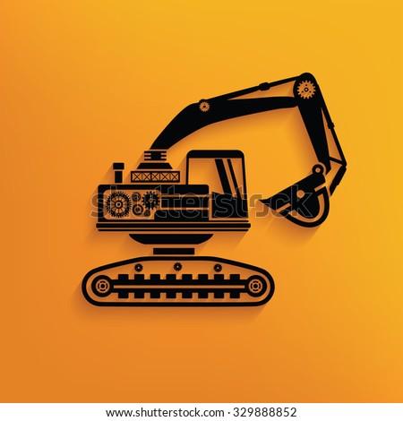 Excavator on yellow background,clean vector - stock vector