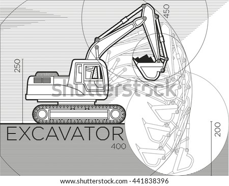 Excavator. The process of digging. Vector illustration