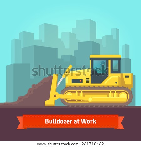 Excavator tractor levelling land in front of cityscape background. Vector flat style illustration. - stock vector