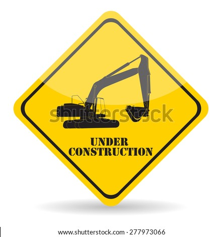 Excavator Work Under Construction. Vector Illustration Eps10. - stock vector