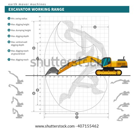 Excavator working range technical drawing blueprint. Heavy equipment vehicle color vector illustration - stock vector