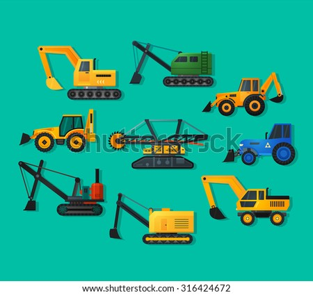 Excavators icons in flat style and long shadow. Mining excavator and trucks excavator, old and modern. Detailed flat style