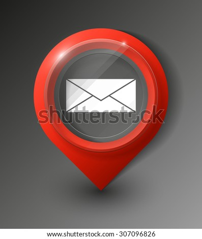 excellent set of colorful pointers to determine location.  Envelope Mail icon, vector illustration. Flat design style - stock vector