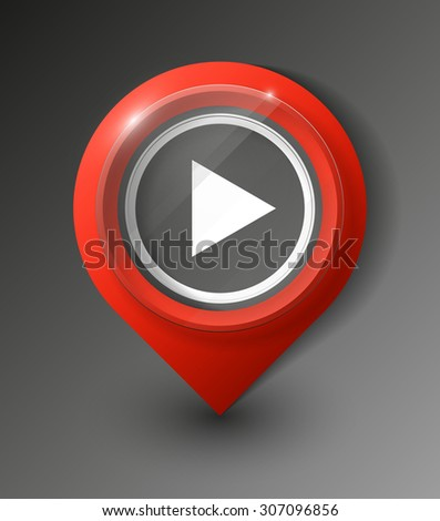 excellent set of colorful pointers to determine location. Vector media player button / icon for websites (UI) or applications (app) for smartphones or tablets - stock vector